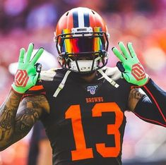 Cleveland Browns History, Cleveland Browns Football, Nfl Football Players, Giants Football, Football Uniforms, Football Outfits, Beckham Football, Odel Beckham, Odell Beckham Jr Catch