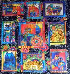 laurel+burch+fabric   LAUREL BURCH Cats Fabric Panel Fanciful Felines Bright OOP