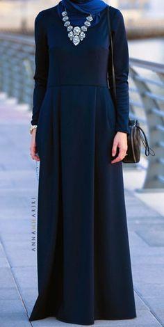 PINNED BY - Modest long sleeve maxi dress full length stylish… Hijab Fashion 2016, Abaya Fashion, Fashion Mode, Modest Fashion, Trendy Fashion, Blue Dress Outfit, Dress Up, Islamic Fashion, Muslim Fashion