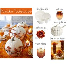 """Pumpkin Tablescape"" by andreafellman on Polyvore"