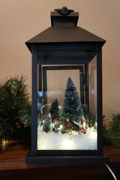 This Gorgeous Dark Rustic Lantern Comes With Lights And A Winter Scene Of People Ice Skating