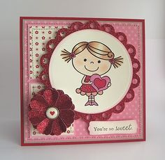 """A card I created using a digital image from the Pink Cat Studio """"Itty Bitty Betty"""" collection."""