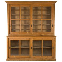 Antique French Oak Laboratory Breakfront | From a unique collection of antique and modern cabinets at https://www.1stdibs.com/furniture/storage-case-pieces/cabinets/