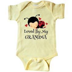 Inktastic Loved By Grandma Ladybug Infant Creeper Baby Bodysuit Grandchild Grandchildren Gift From Cute Granddaughter Grandson Kids Childs Apparel Shower Grandkids Family One-piece Hws, Infant Boy's, Size: 24 Months, Yellow