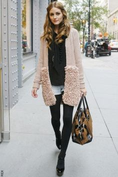 Olivia Palermo made the texture to the cardigan work.  Luv it.