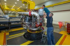 Aerojet Rocketdyne technicians put the final touches on the 16th engine for the RS-25 program.