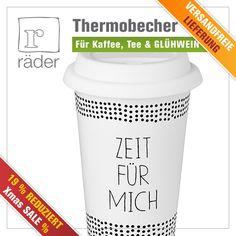 """Besonders im #Winter brauchen wir viel ZEIT mit Freunden, Familie und für uns selbst. Nehmen Sie sich diese, entspannen Sie mit einem Kaffee, Tee oder auch gerne #Glühwein und dem hochwertigen #Thermobecher """"Zeit für mich"""" von #RäderDesign."""