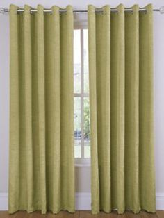 Ring Top Eyelet Ready Made Curtains 90 x 90 Green Faux Silk Living Room Bedroom