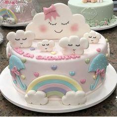 Mushroom Cake New Pictures - Delicious Food Baby Birthday Cakes, Rainbow Birthday Party, Mushroom Cake, Cloud Party, Cloud Cake, Girl Cakes, Cute Cakes, Baby Shower Cakes, Beautiful Cakes