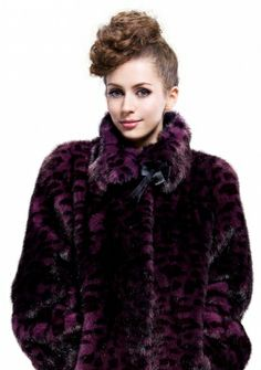 Bacchus Amethyst Fashion/purple black faux mink fur leopard grain fur with faux mink fur collar /long coat