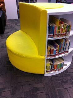 """""""Shelving and seating,  Sengkang Public Library, Singapore,"""" by State Library of NSW Public Library Services, via Flickr"""