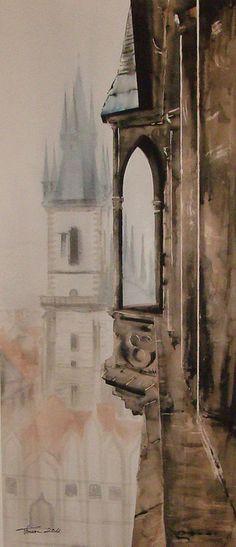 Iglesia de Týn by Francisco's watercolors, via Flickr  Acuarela / Watercolor  www.watercolors.es