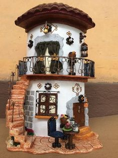 Clay Houses, Ceramic Houses, Dad Crafts, Hobbies And Crafts Dad Crafts, Hobbies And Crafts, Diy And Crafts, Clay Fairy House, Fairy Garden Houses, Clay Houses, Ceramic Houses, Ceramic Clay, Dolls House Shop