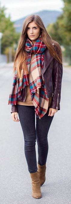 Fall Outfits Ideas - plaids with moto jacket, legging and brown boots.