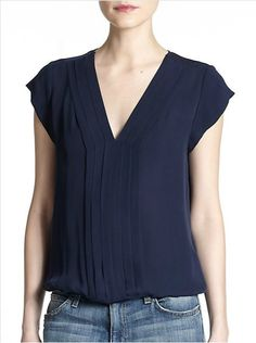 Joie Marcher Silk Pintuck-Pleated Blouse