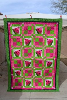 Pink and Green Watermelon Anyone Twin/Double Quilt by DesertCharm, SOLD