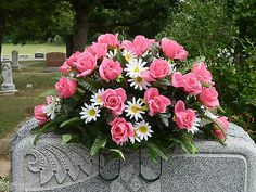 Cemetery Headstone Silk Flower Saddle Arrangement Wreath Pink & White