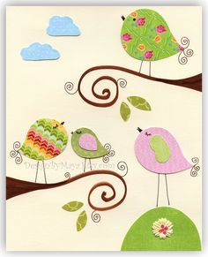 Items similar to Nursery wall art, Baby girl room Decor, nursery art, birds.Love birds on the branch on Etsy Quilt Baby, Baby Wall Art, Nursery Wall Art, Bird Nursery, Motifs D'appliques, Vogel Quilt, Baby Girl Nursery Decor, Themed Nursery, Nursery Ideas