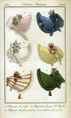 Women's Bonnets 1820.