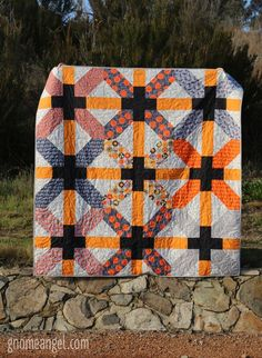 UJ's Quilt - Large X Plus Blocks made of Terra Australis by Emma Jean Jansen, Zen Chic's Barcelona and Bontanics by Carolyn Friedlander. Quilted in Aurifil by Gemma Jackson of Pretty Bobbins Quilting. Backed in a flannel from Spotlight Australia. Big Block Quilts, Star Quilts, Scrappy Quilts, Quilt Block Patterns, Quilt Blocks, Flannel Quilts, Fall Quilts, Orange Quilt, Halloween Quilts