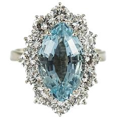 Custom Made Aquamarine Diamond Gold Ring | From a unique collection of vintage cocktail rings at http://diamonds-usa.com/