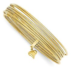 14K Gold Slip On 7 Bangle Bracelets (9 Inches) ** You can get more details by clicking on the image. (Amazon affiliate link)