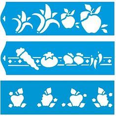 """Set of 3 - 11"""" x 3.3"""" (28cm x 8cm) Reusable Flexible Plastic Stencil for Graphical Design Airbrush Decorating Wall Furniture Fabric Decorations Drawing Drafting Template - Fruits Apple Banana Vegetables Litoarte http://www.amazon.com/dp/B00PMEAW16/ref=cm_sw_r_pi_dp_4hrbwb08H6W1V"""
