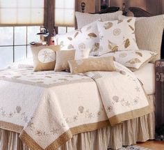 Twin Bed Skirt Ruffled Tan Ticking Stripe Beach House Cottage Dust Ruffle #CF #Cottage