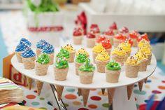 Sesame Street birthday party cupcake cones via Kara's Party Ideas - www.karaspartyideas.com
