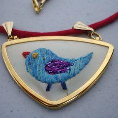 embroidered birdie pendant
