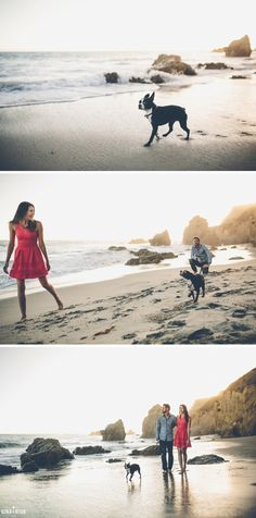 El Matador Beach Engagement Photos with Dog