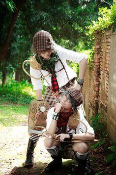 AiW : DeeDum Twins by ashteyz on deviantART Steampunk Costume, Steampunk Clothing, Steampunk Outfits, Diesel Punk, Tweedle Dee Tweedle Dum, Cyberpunk, Victorian Fashion, Alice In Wonderland, Twins