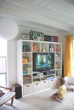 new shelving in new white family room
