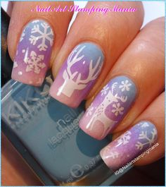 Nail Art Stamping Mania: Winter Landscape Manicure with Gradient and Cici&Sisi Stamping Plates - Tutorial