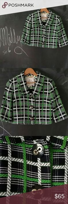 Milly Tweed Blazer Sz 6 Plaid Navy Milly of New York fine Blazer.  Nice quality in Excellent condition.  Bright colors green and navy plaid, Tweed jacket blazer.  Sz 6   Cropped blazer.  3/4 sleeves. Lined.  Big buttons.  Blazer length 17 in from shoulder to hem. Bust up to 38 in across. Medium size.  No trades.  Offers Accepted. Milly Jackets & Coats Blazers