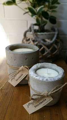 L A R G E C O N C R E T E S C E N T E D by JoujouHandmade Concrete Bags, Concrete Crafts, Concrete Projects, Soy Candles, Scented Candles, Candle Jars, Concrete Candle Holders, Diy Candle Holders, Cement Art