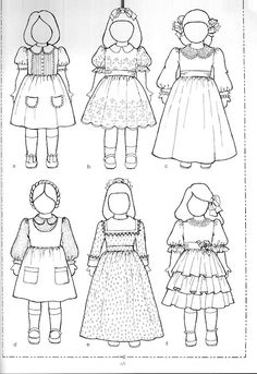 """Links to and pictures of free patterns for 18"""" dolls. Some patterns are for other sizes as well. Site also has links to doll measurements."""