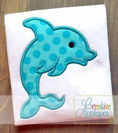Dolphin Digital Machine Embroidery Applique by Creativeapplique Machine Embroidery Thread, Applique Embroidery Designs, Applique Patterns, Applique Quilts, Embroidery Files, Quilt Patterns, Machine Applique Designs, Towel Embroidery, Ribbon Embroidery