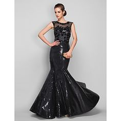 TS Couture Formal Evening / Military Ball Dress - Black Plus Sizes / Petite Trumpet/Mermaid Scoop Sweep/Brush Train Sequined / Tulle – MXN $ 1,862.33