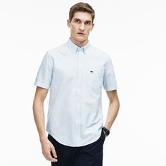 LACOSTE Men's Oxford Cotton Shirt - atmosphere/white. #lacoste #cloth #