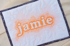 Negative space custom name art - mini quilt - gender neutral kids - personalized baby shower gift - free motion quilting