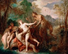Jean-François de Troy - Pan and Syrinx. Tags: pan, syrinx, nymphs, transformations,