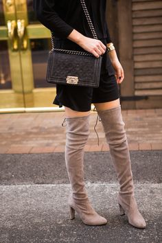 Susana Monaco dress + Stuart Weitzman boots. Be prepared, these boots are an investment at $800-$1100, but if you're confident the trend will stick around another year, this is a great night out look.