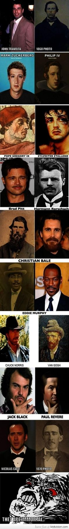 I found the pix of Christian Bale, Nicholas Cage and Eddie Murphy to be the creepiest.... maybe they ARE immortal!