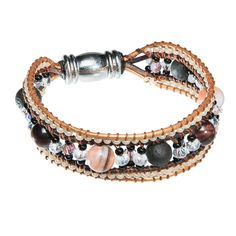 Leather bracelet with lava stone and clear crystal