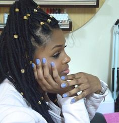 afro hairstyle | yarn wraps | yarn dreads | dreads with rings