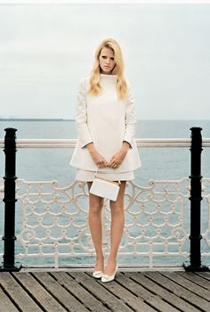 Lara Stone    Classic in off-white. Love this photo in its entirety. So elegant and simple.