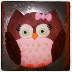 Done it! Cute and easy! Used powdered sugar for tummy and fruit by the foot for the ribbon and starburst for beak. Marshmallows and m&m for eyes. Would do again! Owl cake