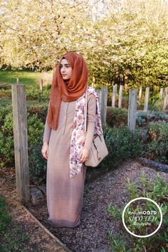 SPOTTED: Zaynah Aziz Wheat Textured Fall Abaya + Pastel Floral Hijab www.inayahcollection.com