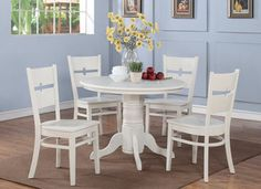 3Pc 42 in Round Kitchen Table  42 in With  2  Dining  Chairs in Linen White. http://www.dinettestyles.net
